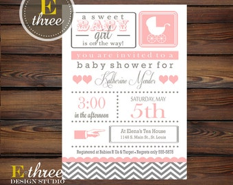 Pink and Gray Baby Girl Shower Invitations - Chevron Baby Girl Shower Invite - Vintage Modern Baby Buggy