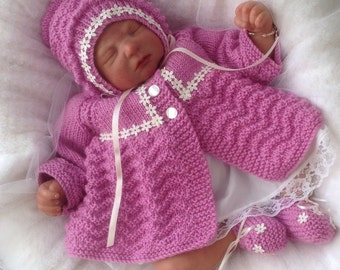 Baby Knitting Pattern Baby Girls or Reborn Dolls - Chevron Matinee Set-  Download PDF Knitting Pattern