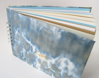 Mixed Paper Journal Sketchbook, Hand Dyed Covers in Blue Grey, A5