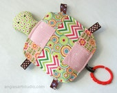 Baby Toy, Wanda the Patchwork Turtle, Crinkle Toy, Pink and Green, Great Baby Girl Gift