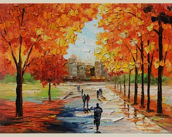 ORIGINAL Oil Painting on canvas Autumn impasto Palette Knife Colorful Landscape painting Trees Red Orange Fall Reflection Textured Marchella