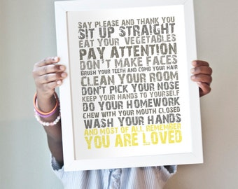 You Are Loved print in yellow and gray