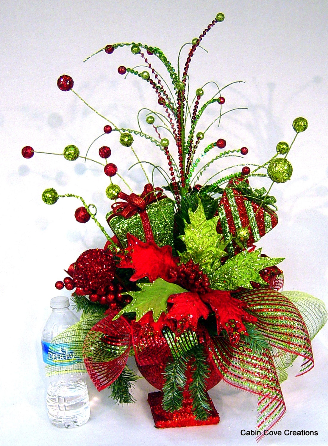 Christmas bling red lime centerpiece floral arrangement in