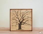 oak tree wall art- 5x5 art block-nursery decor- kids room decor- rustic wall art-cottage decor- redtilestudio