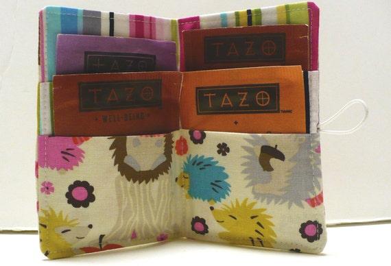 Tea Bag Holder Wallet  - Michael Miller Hedgehogs- Ready to ShipTea Bag Wallet Holder