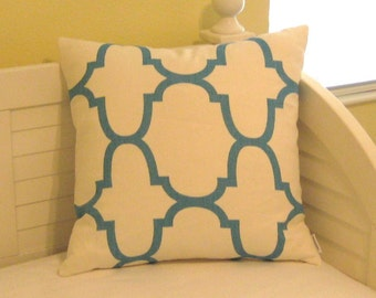 Windsor Smith for Kravet Riad in Aquatik (Turquoise) on Both Sides Designer Pillow Cover - Square and Lumbar Sizes