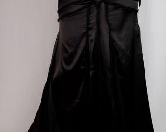 Salena long Skirt in black satin and silk chiffon
