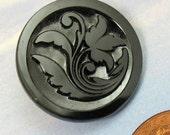 Antique Button Glass Button Victorian Button Vintage Black Floral Button  317 vsb *
