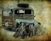 Abandoned Saranac Cities Service Truck during Winter Morning Hoar Frost  in Michigan with Texture Overlay A Fine Art Automobile Photograph