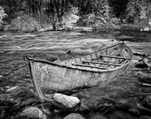 Canoe aground on the Thornapple River in West Michigan either in Black and White or Sepia No.00136BW Boat Landscape Photography