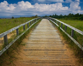 Boardwalk along the Lake Michigan Beach by Manistique in the Michigan Upper Peninsula No.0995 A Fine Art Seascape Wall Decor Photograph