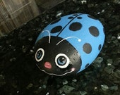 Hand paint Ladybug Man bug pet rock paperweight garden home decor river rock Turquoise Blue Polka dots bug