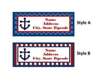Anchor, Nautical Return Address Labels - Heart, Red, Blue -  You Print