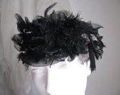 Black Fanciful Stretch Headband Silk Feathery texture