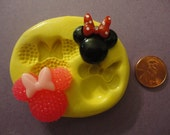 kawaii flexible silicone mold for mouse with bow cabochons  191---USA seller