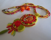 """Red, Yellow, Orange, Green Bead Embroidered Lampwork Cabochon Necklace Pendant """"Colours of joy"""",, Handmade Beaded Earrings, Bright Jewelry"""