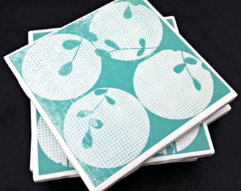 Distressed Teal Floral with Circles Handmade Tile Coasters, Set of 4 Beverage Coasters