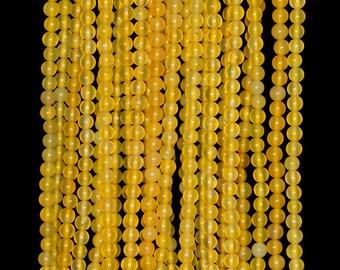 """3mm Yellow Jade Round beads full strand 16"""" Loose Beads P142665"""