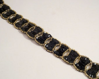 Black and Gold Interlocking Circles Design Beaded and Sequined Trim--One Yard