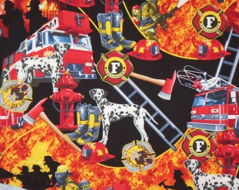 REMNANT--Colorful Firehouse Print Pure Cotton Fabric from Timeless Treasures--1&3/8 YardS