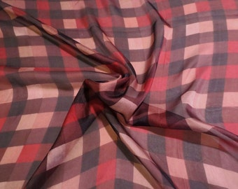 Red Brown and Black Plaid Check Print Pure Silk Chiffon Fabric--One Yard