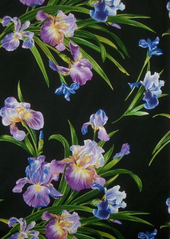 REMNANT--Striking Primavera Iris Print Pure Cotton Fabric from Michael Miller--5/8 YARD