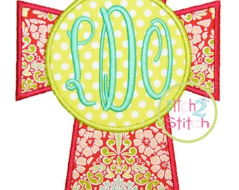 "Cross Monogram  Applique Design For Machine Embroidery, shown with our ""Fancy Oval"" Font NOT Included,  INSTANT DOWNLOAD now available"