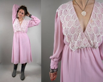 Vintage 1980s Dress / 80s Vintage Pink Dress / 1980s Vintage Dress with Lace