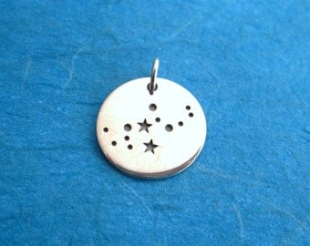 Sterling Silver Stamped Virgo Constellation Zodiac Sign Pendant  Charm