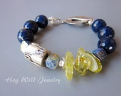 Blue Agate Yellow Quartz Silver Bracelet