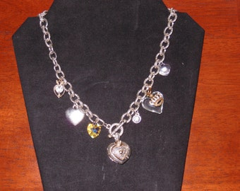 """Necklace -Charms """"Heart"""" Silver tone"""