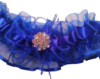 Cobalt Blue Organza Wedding Garter with Ostrich Feathers