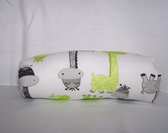 Infant Car Seat ARM PAD, Handle Cover Wrap, Reversible - Monogram Available-- Green Grey Black Dinosaurs and Dots