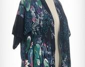 Vintage 70s Water Lilies Kimono Monet Impressionist Painting Art Print Short Sleeve Cotton Kimono Boho Chic