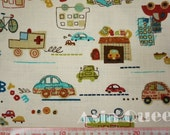 "Graffiti cars - half yard - beige - cotton linen, car fabric, sewing, Check out with code ""5YEAR"" to save 20% off"