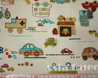"""Graffiti cars - half yard - beige - cotton linen, car fabric, sewing, Check out with code """"5YEAR"""" to save 20% off"""