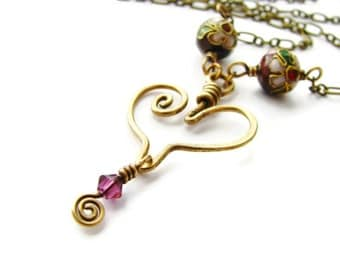 Sweetheart Brass Wire Coiled Heart Necklace with Purple Cloisonne Beads and Swarovski Crystal CLEARANCE SALE
