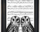 BOGO SALE Owl Art Print Owl Decor Sheet Music Print or Dictionary Prints Wall Decor Art Book Page Two Owl Heads on Vintage Dictionary