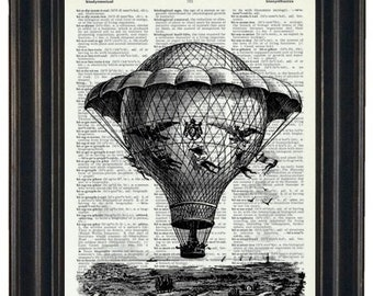 BOGO SALE Hot Air Balloon with Landscape Art Print Dictionary Art Print Upcycled Wall Art 8 x 10