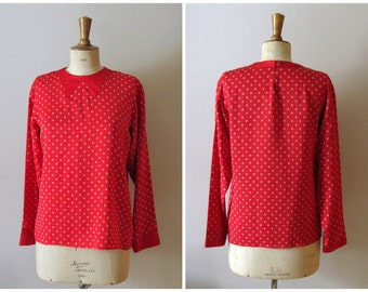 vintage GEOFFREY BEENE silk red polka dot faux collar blouse