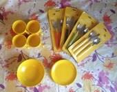 Vintage 4pc Yellow Dish Set
