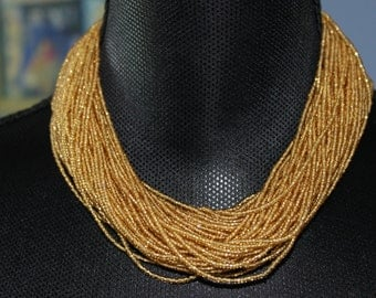 Multi-strand gold necklace