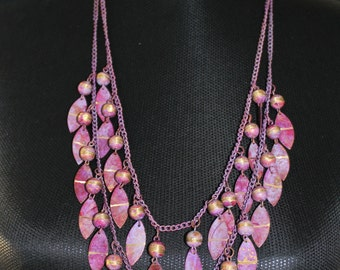 Plum metal two strand necklace