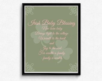 Irish Blessing Nursery Art, Shamrock Typography Poster, Pink Graphic Design Art, Digital Wall Art 8x10 Print, INSTANT DOWNLOAD