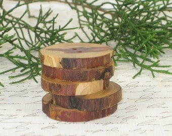 Beautiful   Handcrafted  Cedar Branch  Buttons set of  5