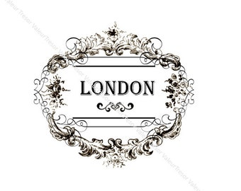 Vintage Chic Typography London Label.  Downloadable File.