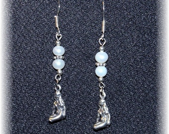 Maiden Goddess Symbolic Earrings Sterling Silver and Authentic Pearls 814ghE-01