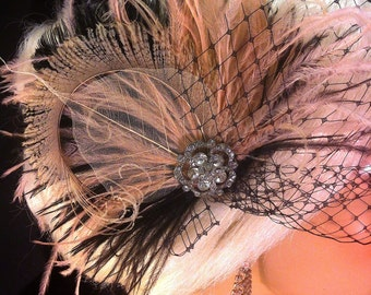 New Rock On  - Bridal Feather Fascinator, Black and Blush, Bridal Hair Clip, Wedding Fascinator, Feather Fascinator