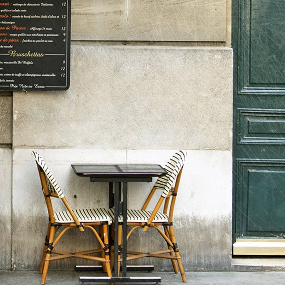 "Paris Photography, Fine Art Photography, Paris Cafe, Ivory, teal, green, romantic, ""Meet Me In Paris"", 5x5 fine art photography print"
