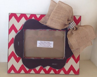 Khaki and Red Chevron Frame in 5x7